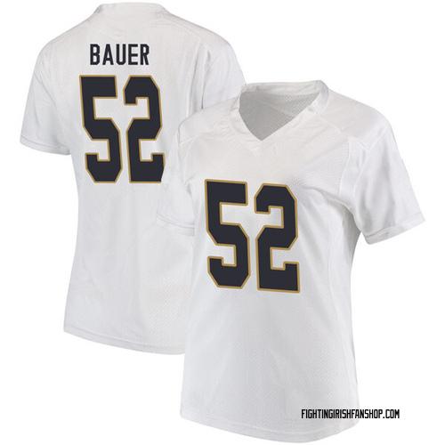Women's Under Armour Bo Bauer Notre Dame Fighting Irish Replica White Football College Jersey