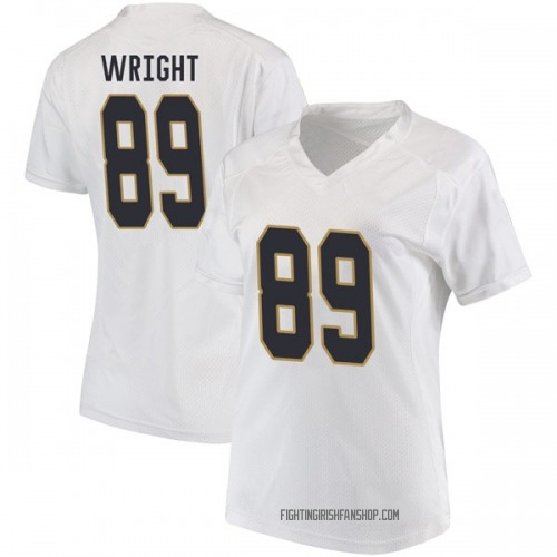 Women's Under Armour Brock Wright Notre Dame Fighting Irish Game White Football College Jersey