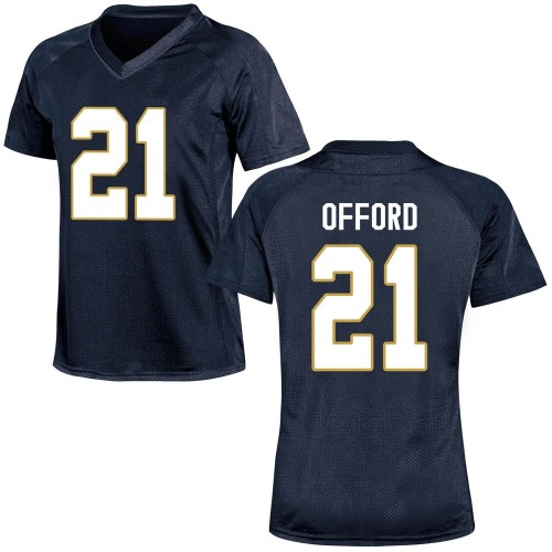 Women's Under Armour Caleb Offord Notre Dame Fighting Irish Replica Navy Blue Football College Jersey