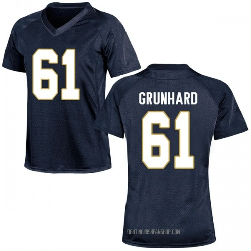 Women's Under Armour Colin Grunhard Notre Dame Fighting Irish Replica Navy Blue Football College Jersey