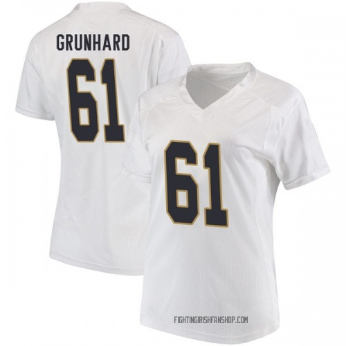 Women's Under Armour Colin Grunhard Notre Dame Fighting Irish Replica White Football College Jersey