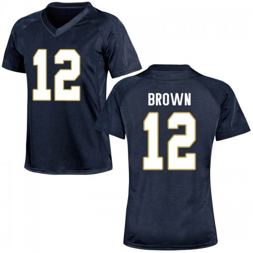 Women's Under Armour DJ Brown Notre Dame Fighting Irish Game Navy Blue Football College Jersey