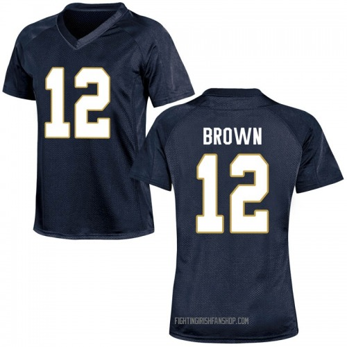 Women's Under Armour DJ Brown Notre Dame Fighting Irish Replica Navy Blue Football College Jersey