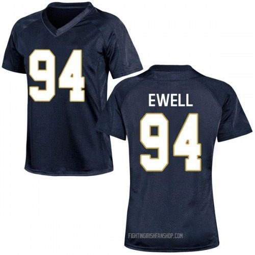 Women's Under Armour Darnell Ewell Notre Dame Fighting Irish Game Navy Blue Football College Jersey