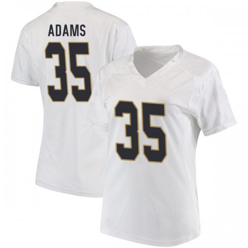 Women's Under Armour David Adams Notre Dame Fighting Irish Replica White Football College Jersey