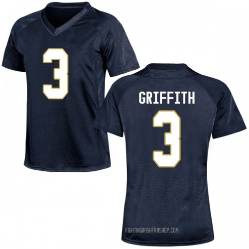 Women's Under Armour Houston Griffith Notre Dame Fighting Irish Game Navy Blue Football College Jersey