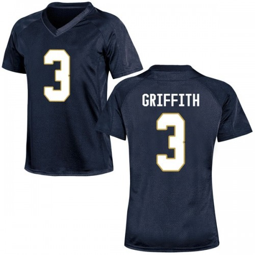 Women's Under Armour Houston Griffith Notre Dame Fighting Irish Replica Navy Blue Football College Jersey