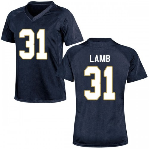 Women's Under Armour Jack Lamb Notre Dame Fighting Irish Game Navy Blue Football College Jersey