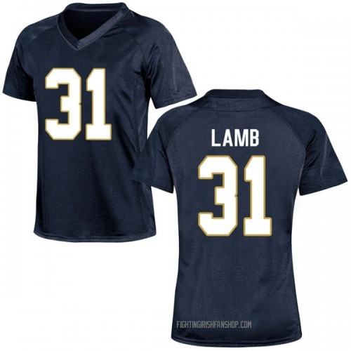 Women's Under Armour Jack Lamb Notre Dame Fighting Irish Replica Navy Blue Football College Jersey