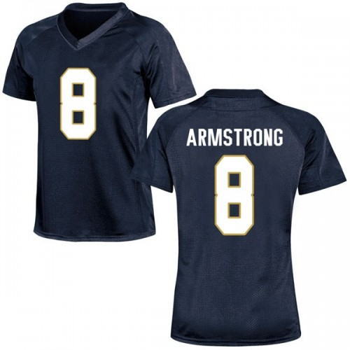 Women's Under Armour Jafar Armstrong Notre Dame Fighting Irish Game Navy Blue Football College Jersey