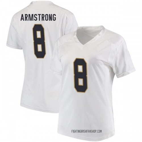 Women's Under Armour Jafar Armstrong Notre Dame Fighting Irish Game White Football College Jersey
