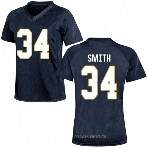 Women's Under Armour Jahmir Smith Notre Dame Fighting Irish Game Navy Blue Football College Jersey