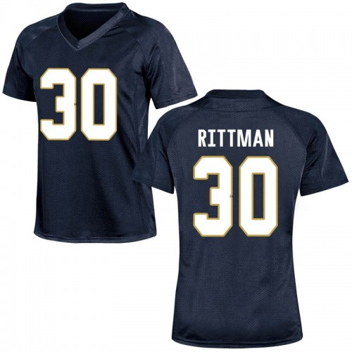 Women's Under Armour Jake Rittman Notre Dame Fighting Irish Game Navy Blue Football College Jersey