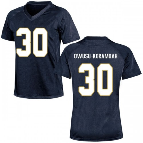 Women's Under Armour Jeremiah Owusu-Koramoah Notre Dame Fighting Irish Replica Navy Blue Football College Jersey