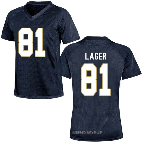Women's Under Armour John Lager Notre Dame Fighting Irish Game Navy Blue Football College Jersey
