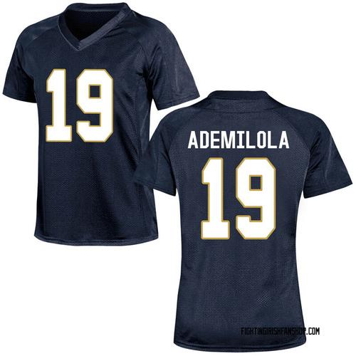 Women's Under Armour Justin Ademilola Notre Dame Fighting Irish Game Navy Blue Football College Jersey