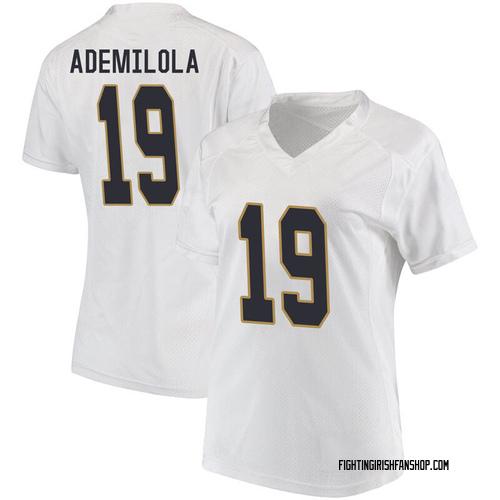 Women's Under Armour Justin Ademilola Notre Dame Fighting Irish Game White Football College Jersey