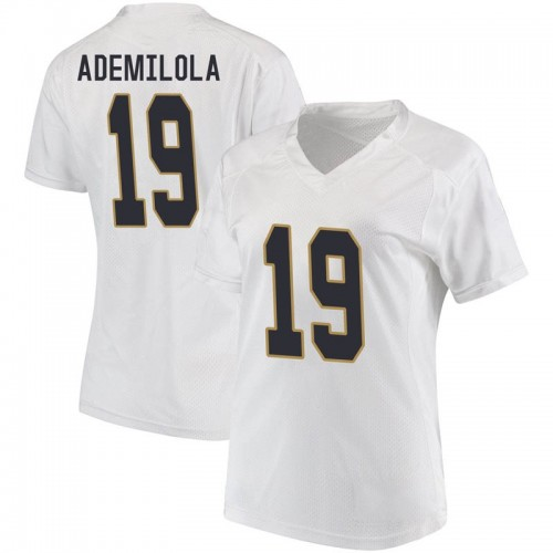 Women's Under Armour Justin Ademilola Notre Dame Fighting Irish Replica White Football College Jersey