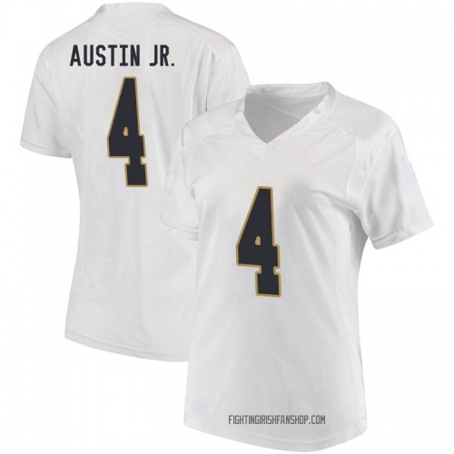 Women's Under Armour Kevin Austin Jr. Notre Dame Fighting Irish Game White Football College Jersey