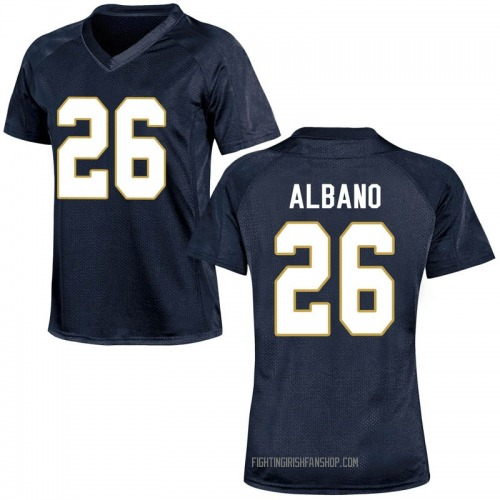 Women's Under Armour Leo Albano Notre Dame Fighting Irish Game Navy Blue Football College Jersey