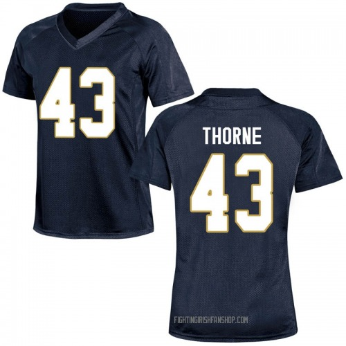 Women's Under Armour Marcus Thorne Notre Dame Fighting Irish Game Navy Blue Football College Jersey