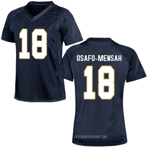 Women's Under Armour Nana Osafo-Mensah Notre Dame Fighting Irish Game Navy Blue Football College Jersey
