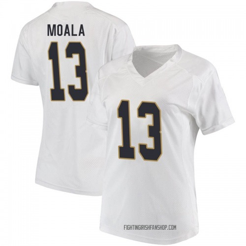 Women's Under Armour Paul Moala Notre Dame Fighting Irish Game White Football College Jersey
