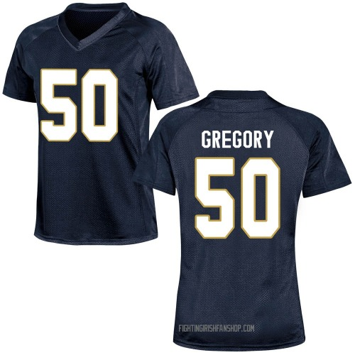 Women's Under Armour Reed Gregory Notre Dame Fighting Irish Game Navy Blue Football College Jersey