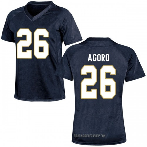 Women's Under Armour Temitope Agoro Notre Dame Fighting Irish Game Navy Blue Football College Jersey