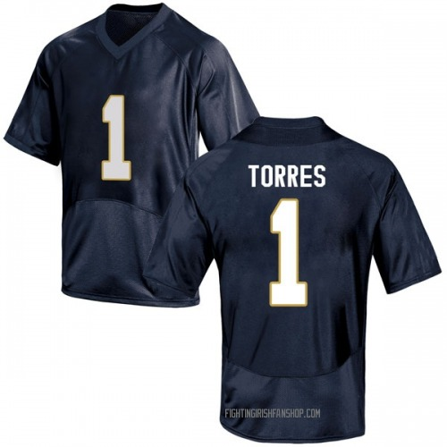 Youth Under Armour Austin Torres Notre Dame Fighting Irish Game Navy Blue Football College Jersey