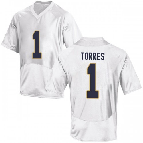 Youth Under Armour Austin Torres Notre Dame Fighting Irish Game White Football College Jersey