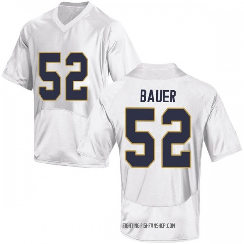 Youth Under Armour Bo Bauer Notre Dame Fighting Irish Replica White Football College Jersey