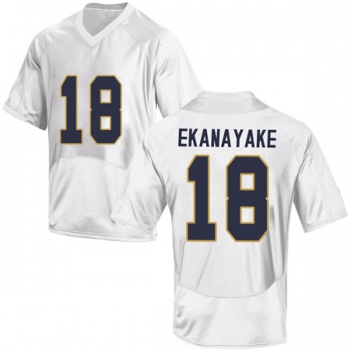 Youth Under Armour Cameron Ekanayake Notre Dame Fighting Irish Game White Football College Jersey