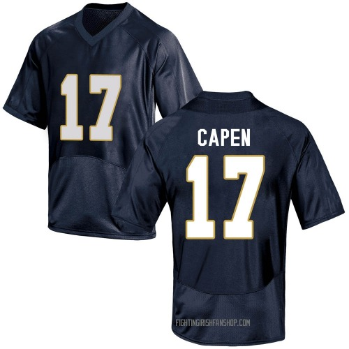 Youth Under Armour Cole Capen Notre Dame Fighting Irish Game Navy Blue Football College Jersey