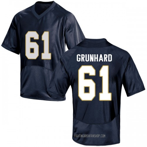 Youth Under Armour Colin Grunhard Notre Dame Fighting Irish Game Navy Blue Football College Jersey