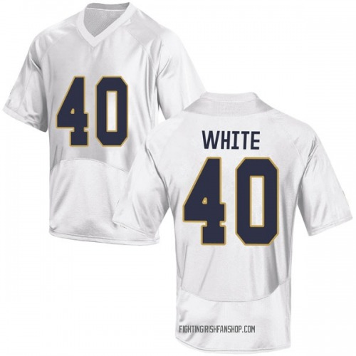 Youth Under Armour Drew White Notre Dame Fighting Irish Game White Football College Jersey
