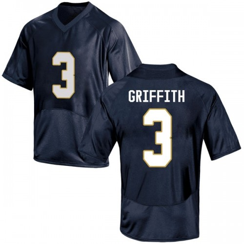 Youth Under Armour Houston Griffith Notre Dame Fighting Irish Replica Navy Blue Football College Jersey