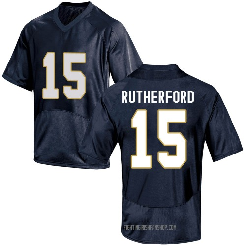 Youth Under Armour Isaiah Rutherford Notre Dame Fighting Irish Game Navy Blue Football College Jersey