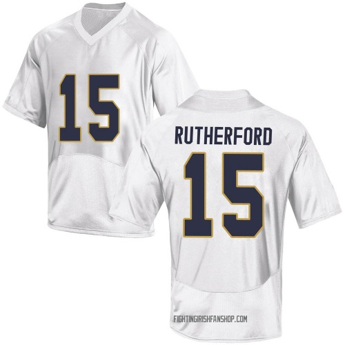 Youth Under Armour Isaiah Rutherford Notre Dame Fighting Irish Game White Football College Jersey