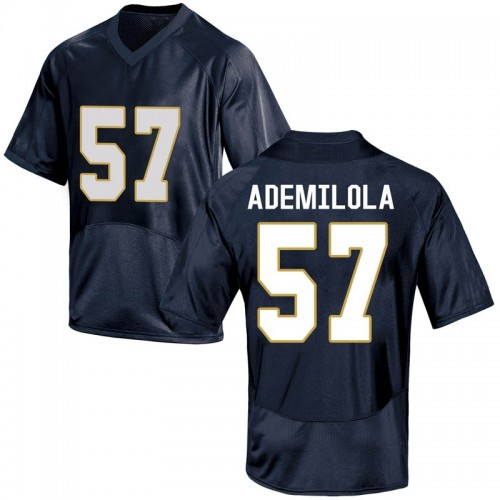 Youth Under Armour Jayson Ademilola Notre Dame Fighting Irish Game Navy Blue Football College Jersey