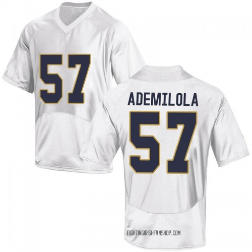 Youth Under Armour Jayson Ademilola Notre Dame Fighting Irish Game White Football College Jersey