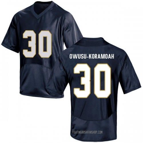 Youth Under Armour Jeremiah Owusu-Koramoah Notre Dame Fighting Irish Game Navy Blue Football College Jersey