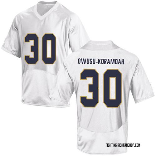 Youth Under Armour Jeremiah Owusu-Koramoah Notre Dame Fighting Irish Game White Football College Jersey