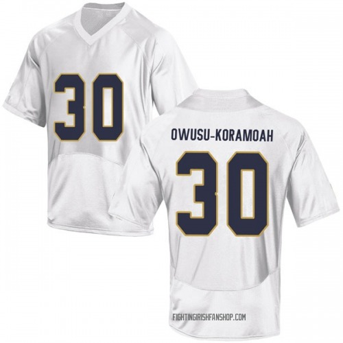 Youth Under Armour Jeremiah Owusu-Koramoah Notre Dame Fighting Irish Replica White Football College Jersey
