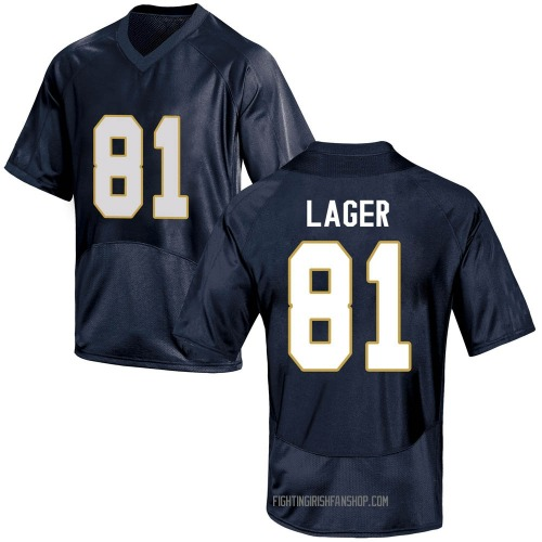 Youth Under Armour John Lager Notre Dame Fighting Irish Replica Navy Blue Football College Jersey