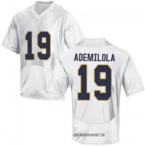 Youth Under Armour Justin Ademilola Notre Dame Fighting Irish Game White Football College Jersey