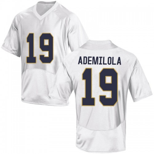 Youth Under Armour Justin Ademilola Notre Dame Fighting Irish Replica White Football College Jersey