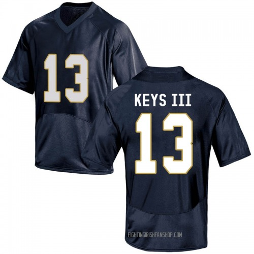 Youth Under Armour Lawrence Keys III Notre Dame Fighting Irish Game Navy Blue Football College Jersey