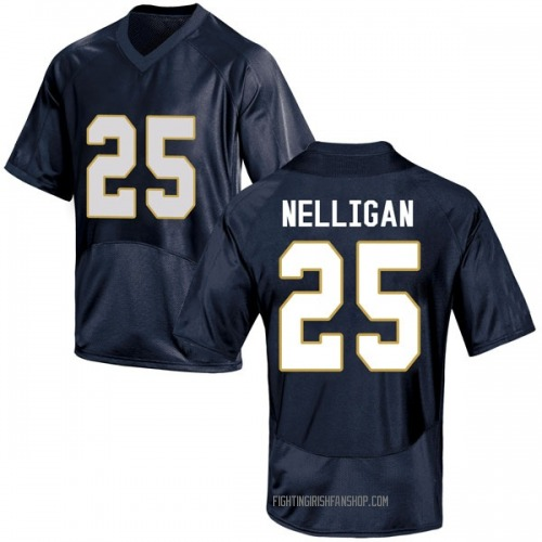 Youth Under Armour Liam Nelligan Notre Dame Fighting Irish Game Navy Blue Football College Jersey