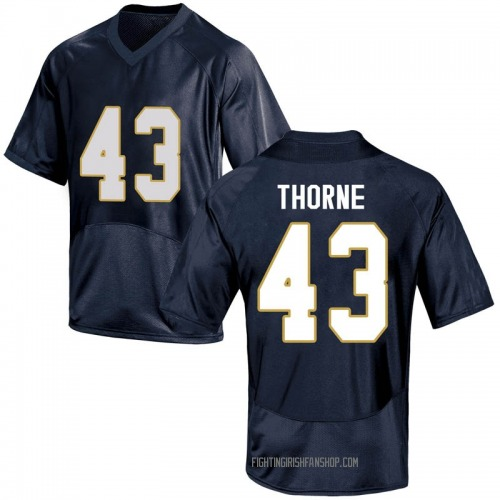 Youth Under Armour Marcus Thorne Notre Dame Fighting Irish Game Navy Blue Football College Jersey